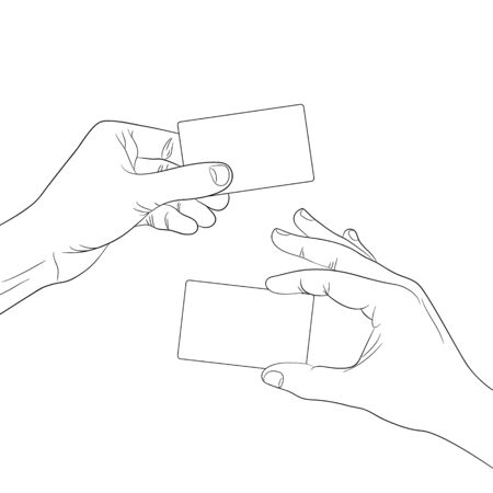 hand hold: hand hold a blank card outline contour vector illustration