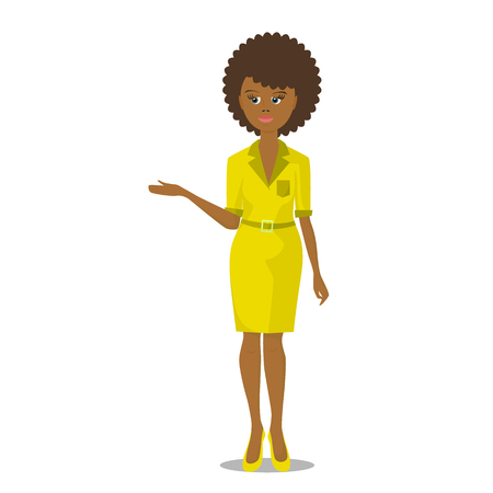 yellow dress: african black woman in yellow dress vector illustration