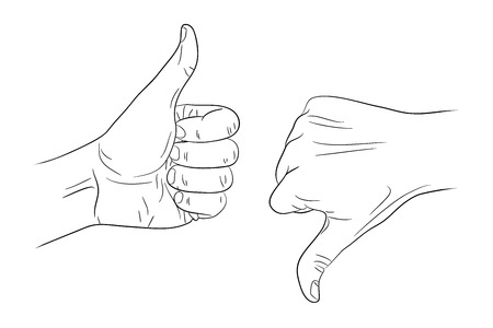 thumb down: thumb up thumb down outline contour vector illustration