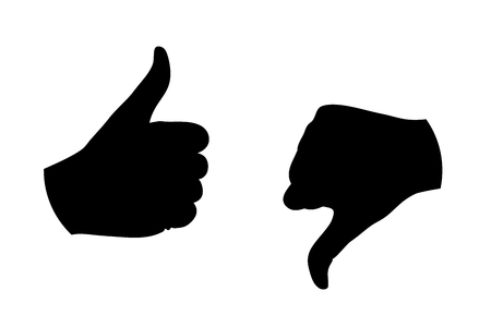 thumb up thumb down silhouette vector illustration