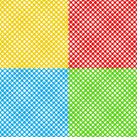 checked fabric: different colors checked fabric tablecloth texture seamless pattern vector illustration Illustration