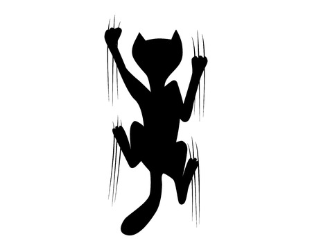 climbing cat silhouette vector illustration