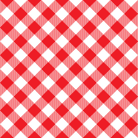 picnic cloth: Red tablecloth diagonal seamless pattern. Vector illustration of traditional gingham dining cloth with fabric texture. Checkered picnic cooking tablecloth.