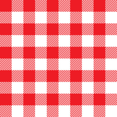 picnic cloth: Red tablecloth seamless pattern. Vector illustration of traditional gingham dining cloth with fabric texture. Checkered picnic cooking tablecloth. Illustration