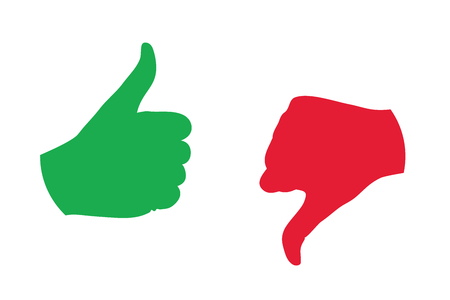green thumb: thumb up thumb down color icon vector illustration