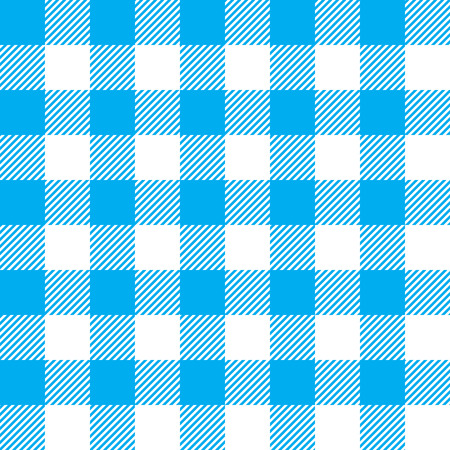 linen: Blue tablecloth seamless pattern. Vector illustration of traditional gingham dining cloth with fabric texture. Checkered picnic cooking tablecloth.