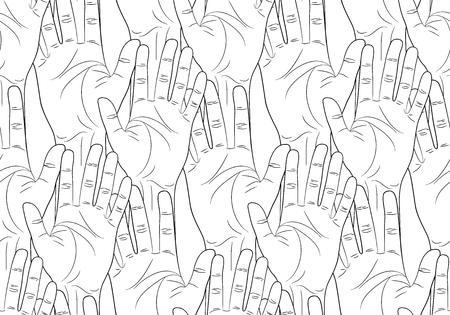 las manos levantadas contorno patrón transparente ilustración vectorial