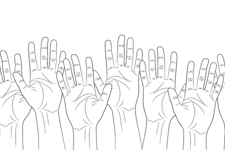 raised: raised hands outline contour seamless pattern vector illustration Illustration