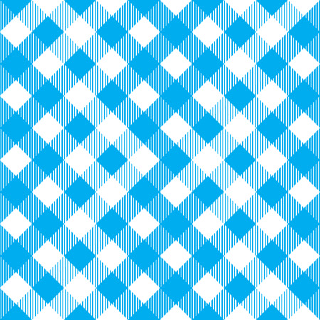 picnic cloth: Blue tablecloth diagonal seamless pattern. Vector illustration of traditional gingham dining cloth with fabric texture. Checkered picnic cooking tablecloth.