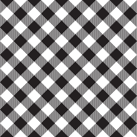 picnic cloth: Black tablecloth diagonal seamless pattern. Vector illustration of traditional gingham dining cloth with fabric texture. Checkered picnic cooking tablecloth. Illustration