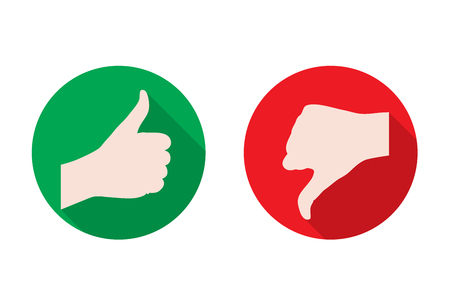 thumb up thumb down flat game graphics icon vector illustration Stock Illustratie