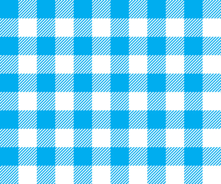 picnic cloth: Blue tablecloth background seamless pattern. Vector illustration of traditional gingham dining cloth with fabric texture. Checkered picnic cooking tablecloth.