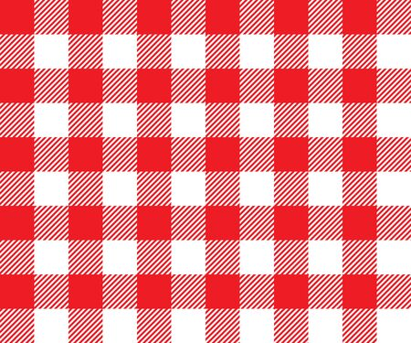 picnic cloth: Red tablecloth background seamless pattern. Vector illustration of traditional gingham dining cloth with fabric texture. Checkered picnic cooking tablecloth. Illustration