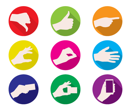 business hand: business hand gestures color icon vector illustration