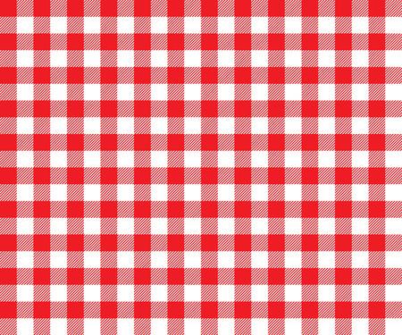 赤のテーブル クロスは、シームレスなパターンを背景します。手触りの生地の布をダイニング伝統的なギンガムのベクター イラストです。市松模様