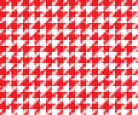 Red table cloth background seamless pattern. Vector illustration of traditional gingham dining cloth with fabric texture. Checkered picnic cooking tablecloth. Çizim