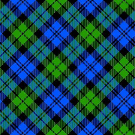 Black Watch milytary tartan diagonal seamless pattern vector illustration
