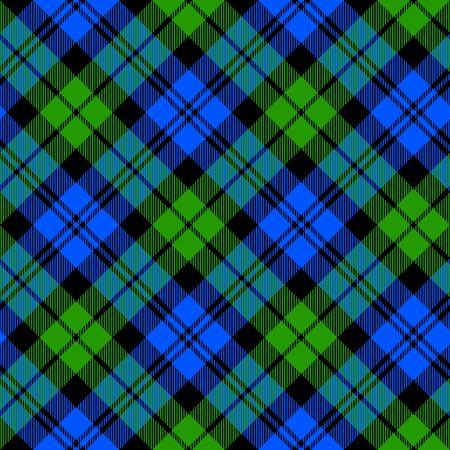 Black Watch milytary tartan diagonal seamless pattern vector illustration