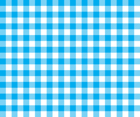 picnic cloth: Blue table cloth background seamless pattern. Vector illustration of traditional gingham dining cloth with fabric texture. Checkered picnic cooking tablecloth.