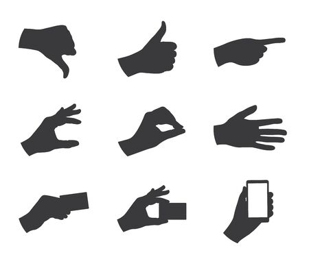 business hand: business hand gestures silhouette vector illustration