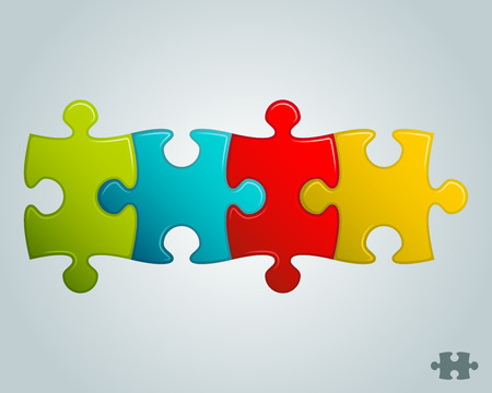 piezas de rompecabezas: coloridas piezas del rompecabezas línea horizontal ilustración vectorial