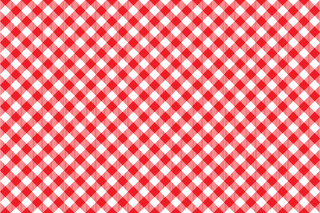 picnic cloth: Red tablecloth diagonal background seamless pattern. Vector illustration of traditional gingham dining cloth with fabric texture. Checkered picnic cooking tablecloth.