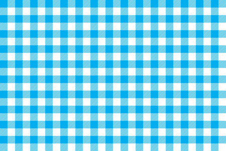 Tablecloth background blue seamless pattern. Vector illustration of traditional gingham dining cloth with fabric texture. Checkered picnic cooking tablecloth. Stock Illustratie