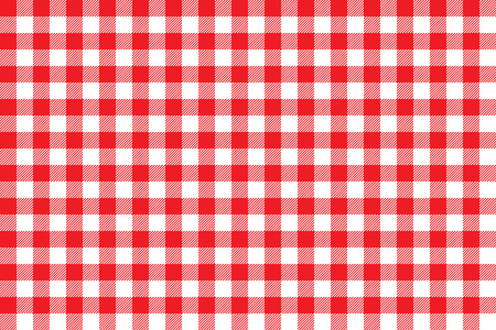 Tablecloth background red seamless pattern. Vector illustration of traditional gingham dining cloth with fabric texture. Checkered picnic cooking tablecloth.