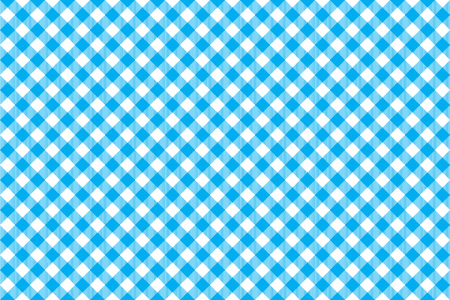picnic cloth: Blue tablecloth diagonal background seamless pattern. Vector illustration of traditional gingham dining cloth with fabric texture. Checkered picnic cooking tablecloth. Illustration