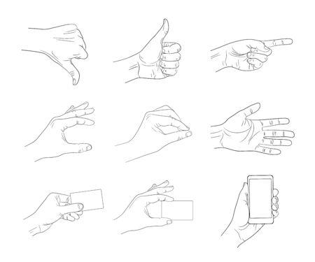 business hand: business hand gestures contour vector illustration