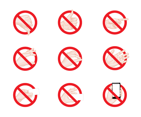 forbidding: Forbidding Signs business hand gestures icons vector illustration Illustration