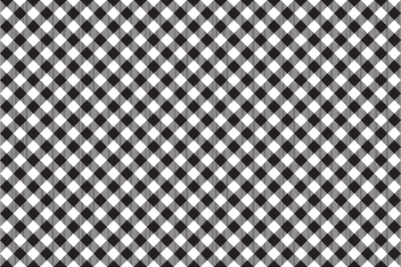 picnic cloth: Black tablecloth diagonal background seamless pattern. Vector illustration of traditional gingham dining cloth with fabric texture. Checkered picnic cooking tablecloth.