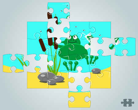part frog: Puzzle a frog resting on holidays vector illustration Illustration