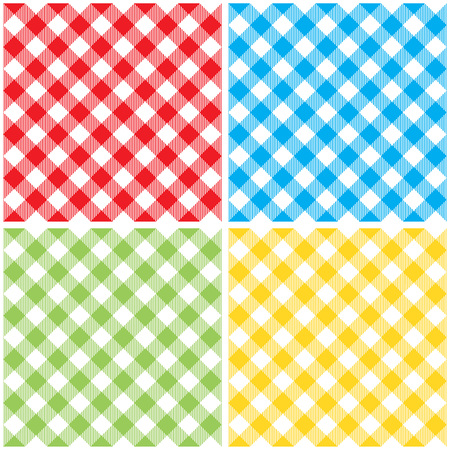 picnic cloth: Set checkered colored tablecloth diagonal seamless pattern. Vector illustration of traditional gingham dining cloth with fabric texture. Checkered picnic cooking tablecloth different colors.