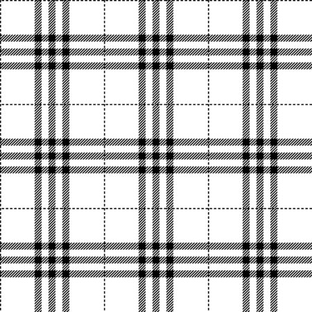 black and white fabric texture tartan pattern seamless vector illustration