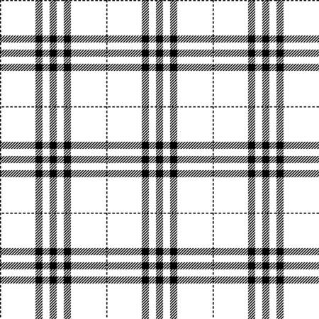 black and white fabric texture tartan pattern seamless vector illustration