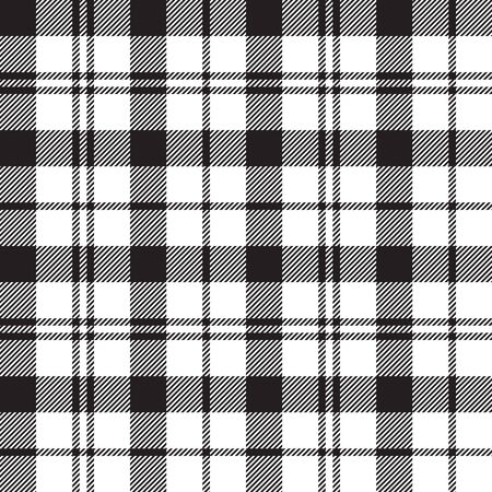 Black Watch milytary tartan seamless pattern black and white vector illustration