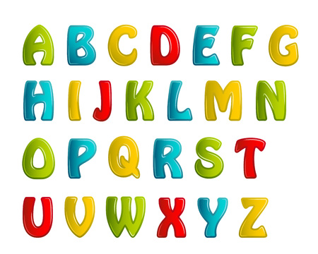 brightly: colors shiny letters holiday fonts. Vector illustration