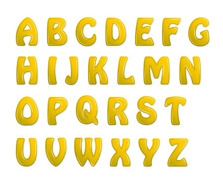brightly: yellow shiny letters holiday fonts. Illustration
