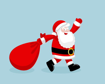 blue santa: Santa Claus running with the bag of the presents.