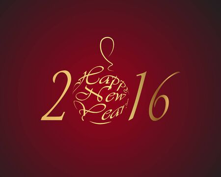rad: Happy New Year 2016 gold letters on a rad background Illustration