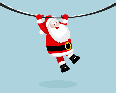 Santa Claus hanging on the rope.