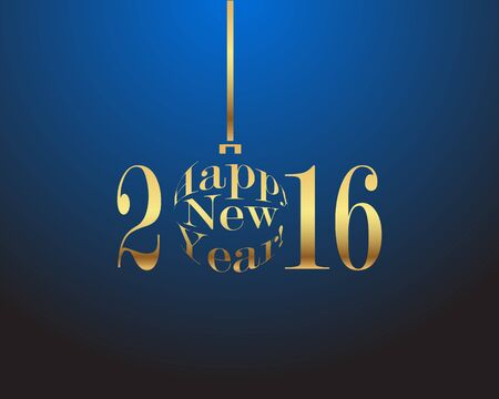 gold letters: Happy New Year 2016 gold letters on a blue background