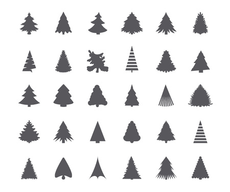 tree silhouettes: Christmas tree silhouettes Illustration