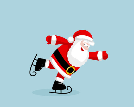 Santa Claus skating. Vector illustration. EPS 8. No transparency. No gradients.