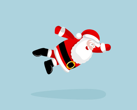 valiant: Super Santa Claus is flying. Vector illustration. EPS 8. No transparency. No gradients. Illustration