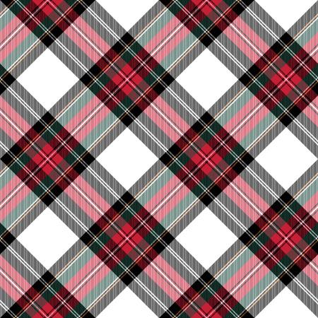dress stewart tartan seamless pattern diagonal fabric texture. Vector illustration. EPS 10. No transparency. No gradients.