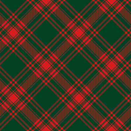 kilt: Menzies tartan green red kilt diagonal fabric texture background seamless pattern.Vector illustration.  No transparency. No gradients.