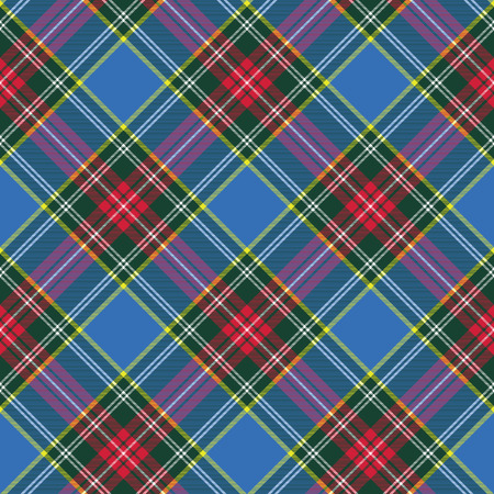 patterning: macbeth tartan kilt fabric texture diagonal seamless pattern.Vector illustration.  No transparency. No gradients.