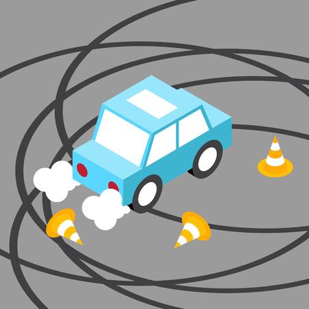 racecar: Drift car traffic cone isometric. No transparency. No gradients.
